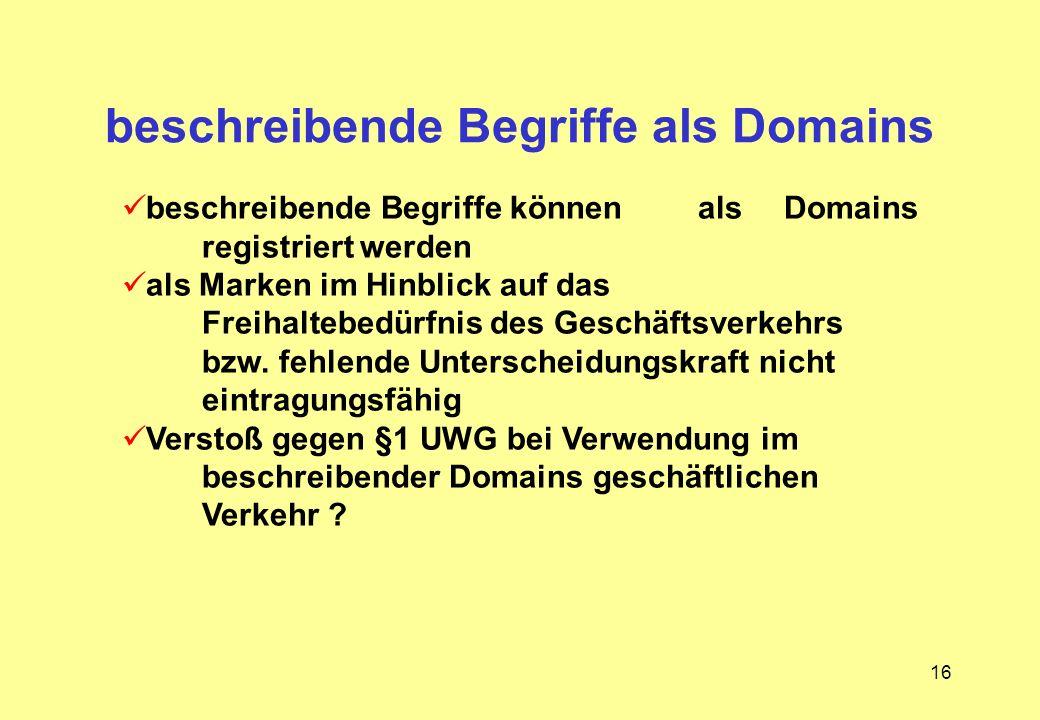 beschreibende Begriffe als Domains