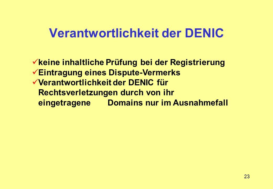 Verantwortlichkeit der DENIC
