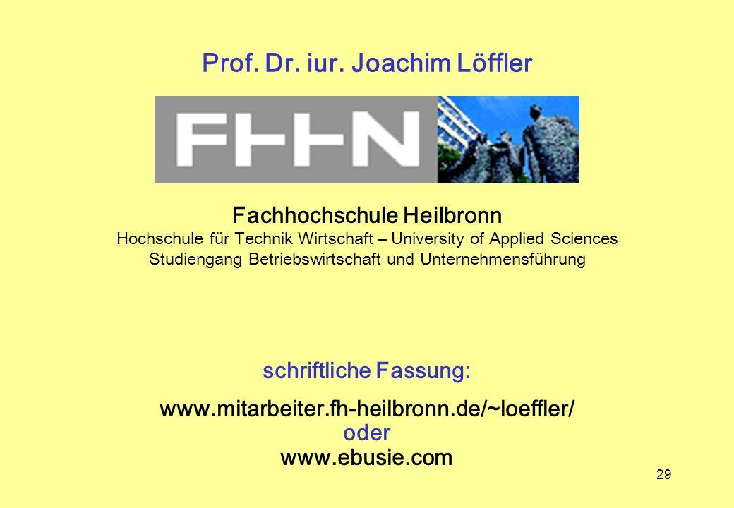 Prof. Dr. iur. Joachim Löffler