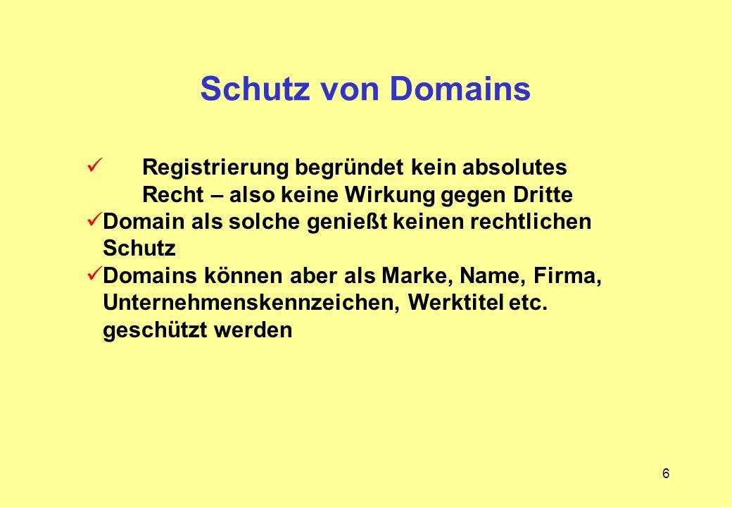 Schutz von Domains Registrierung begründet kein absolutes Recht – also keine Wirkung gegen Dritte.