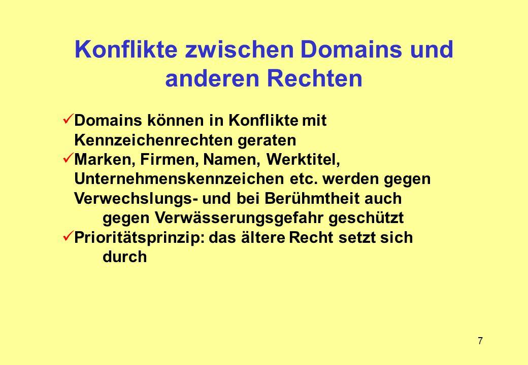 Konflikte zwischen Domains und anderen Rechten