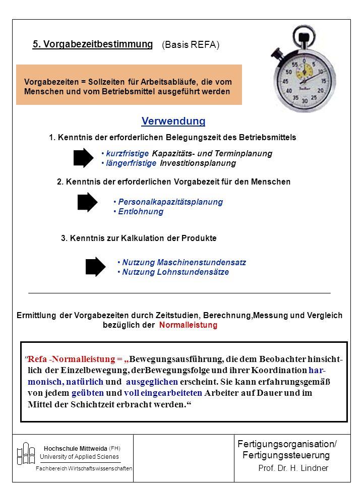 Verwendung 5. Vorgabezeitbestimmung (Basis REFA)