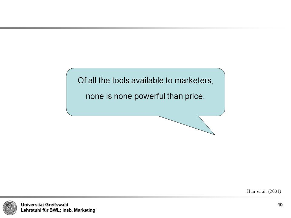 Of all the tools available to marketers, none is none powerful than price.