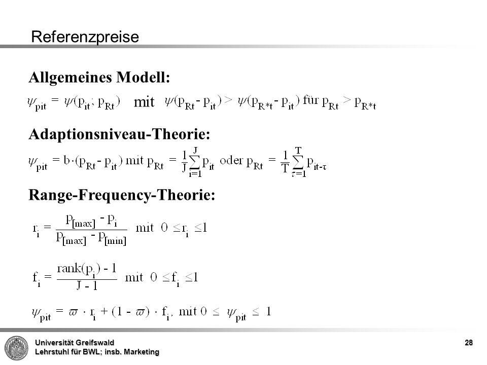 Referenzpreise Allgemeines Modell: mit Adaptionsniveau-Theorie: Range-Frequency-Theorie: