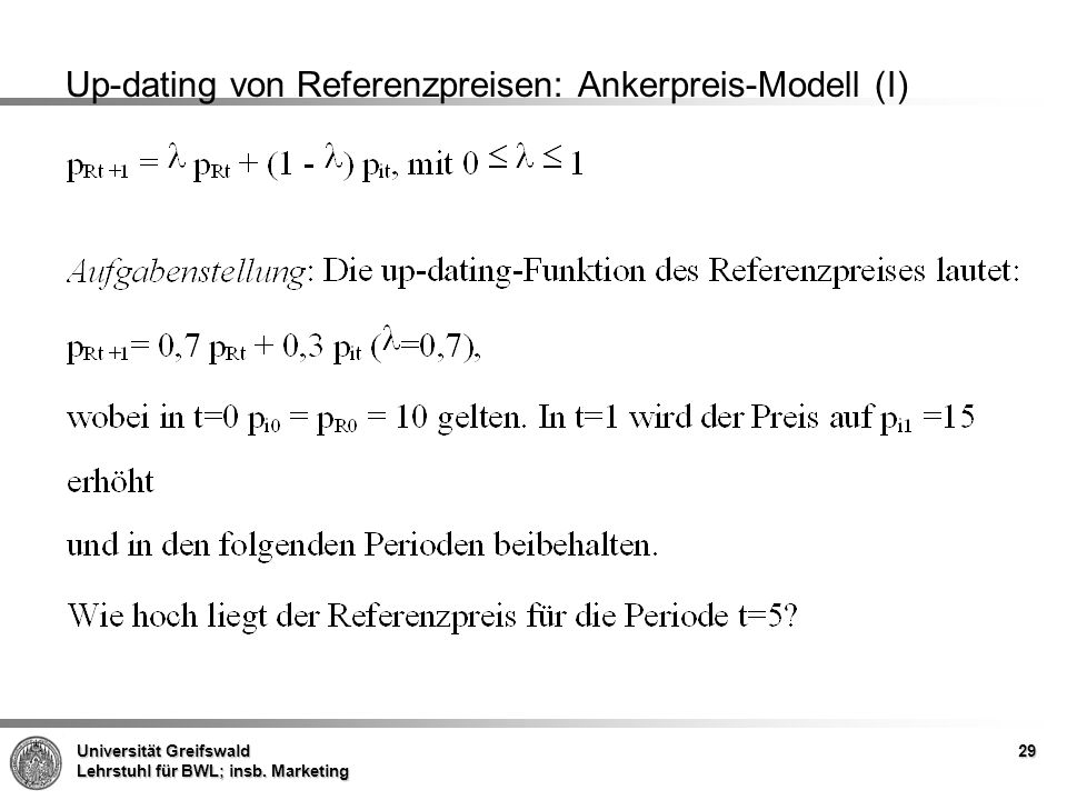 Up-dating von Referenzpreisen: Ankerpreis-Modell (I)