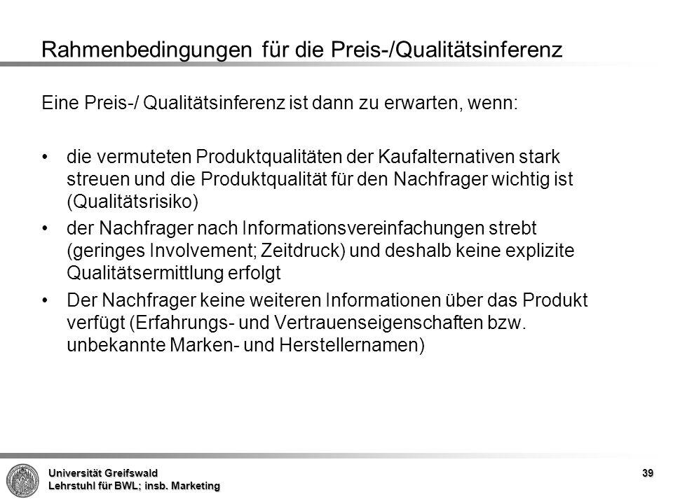 Rahmenbedingungen für die Preis-/Qualitätsinferenz