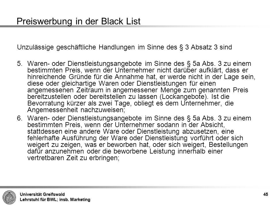 Preiswerbung in der Black List