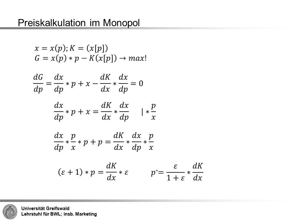 Preiskalkulation im Monopol
