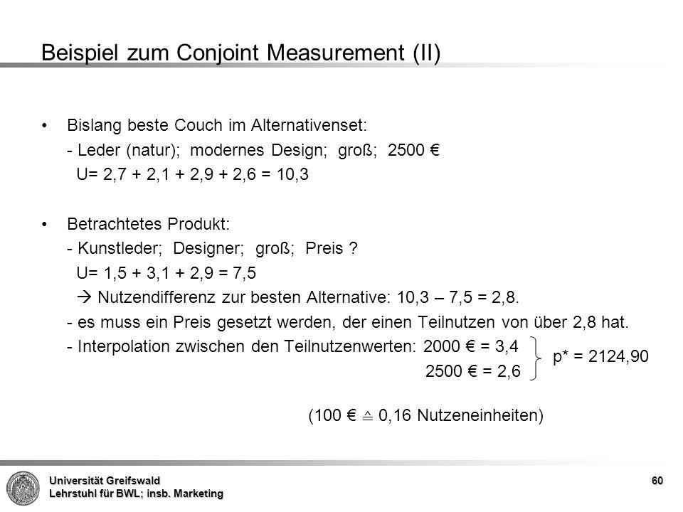 Beispiel zum Conjoint Measurement (II)
