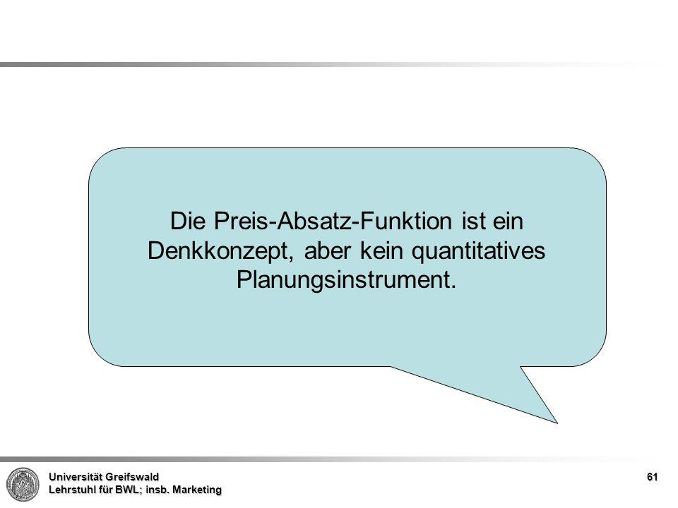 Die Preis-Absatz-Funktion ist ein Denkkonzept, aber kein quantitatives Planungsinstrument.