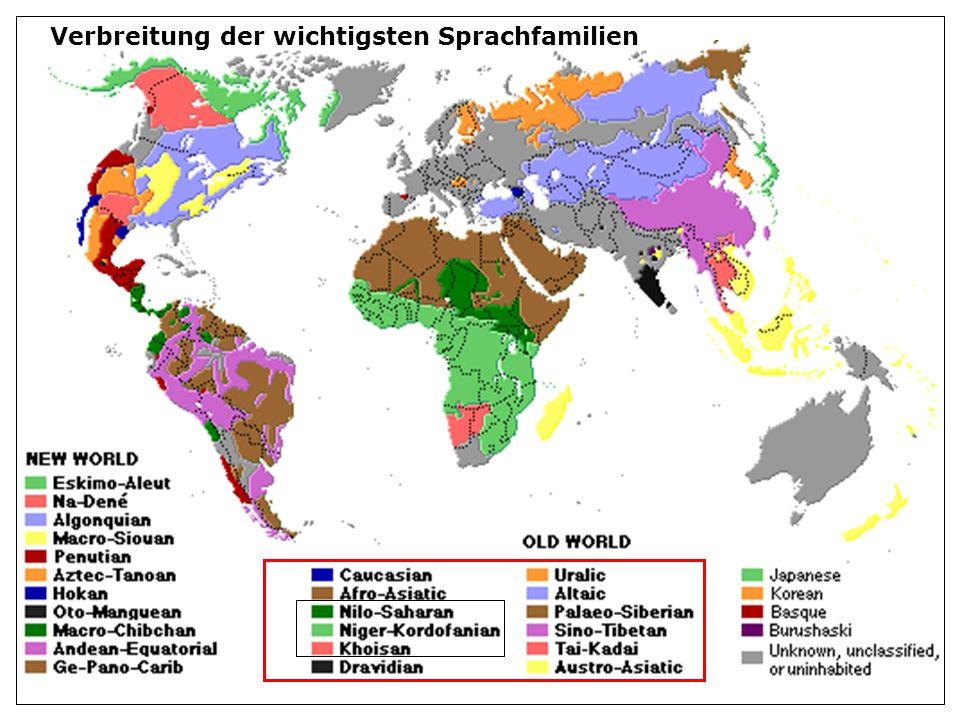 Verbreitung der wichtigsten Sprachfamilien