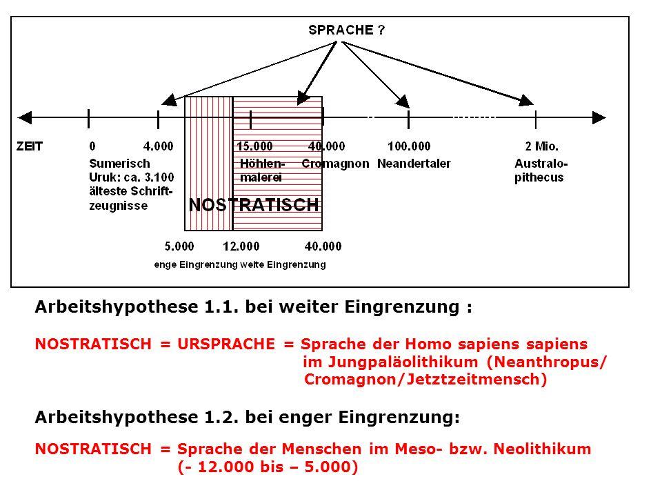 Arbeitshypothese 1.1. bei weiter Eingrenzung :