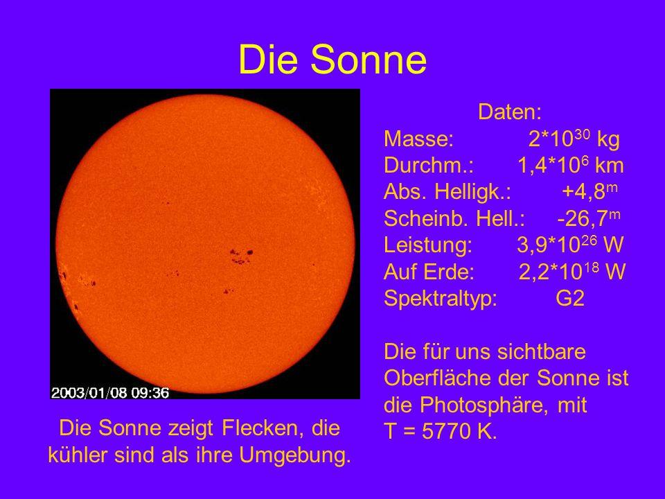 Die Sonne zeigt Flecken, die kühler sind als ihre Umgebung.