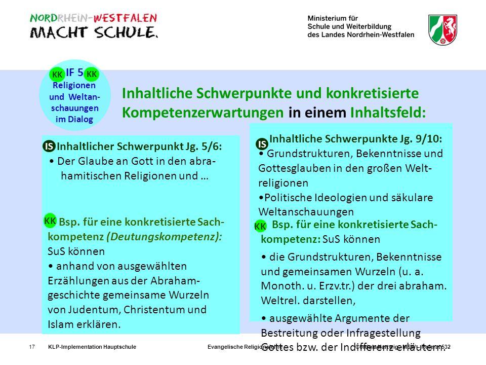 IF 5 Religionen. und Weltan- schauungen. im Dialog. KK. KK.