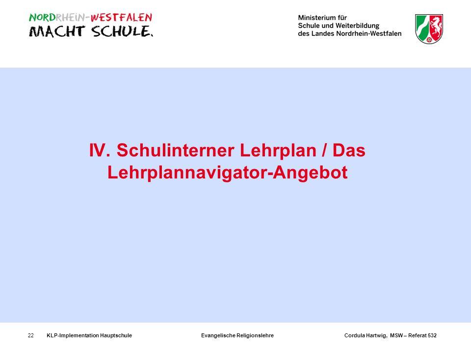 IV. Schulinterner Lehrplan / Das Lehrplannavigator-Angebot