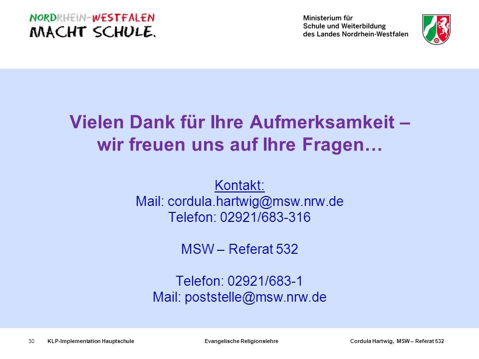 Vielen Dank für Ihre Aufmerksamkeit – wir freuen uns auf Ihre Fragen… Kontakt: Mail: cordula.hartwig@msw.nrw.de Telefon: 02921/683-316 MSW – Referat 532 Telefon: 02921/683-1 Mail: poststelle@msw.nrw.de