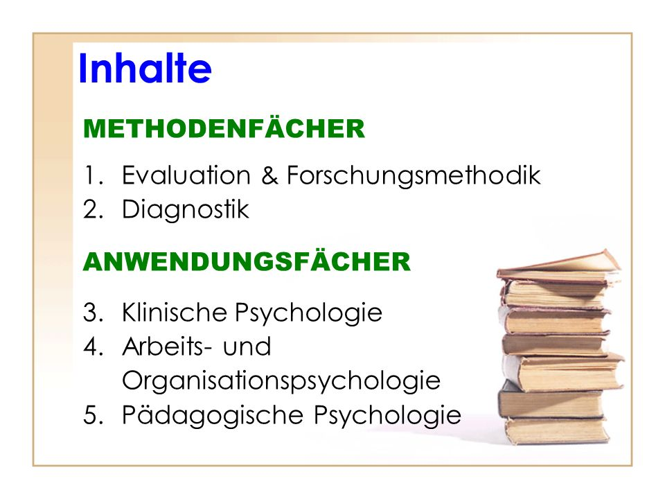 Inhalte METHODENFÄCHER Evaluation & Forschungsmethodik Diagnostik
