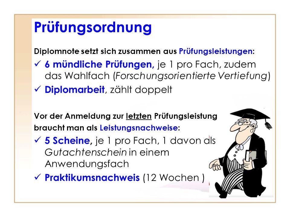 Prüfungsordnung Diplomnote setzt sich zusammen aus Prüfungsleistungen: