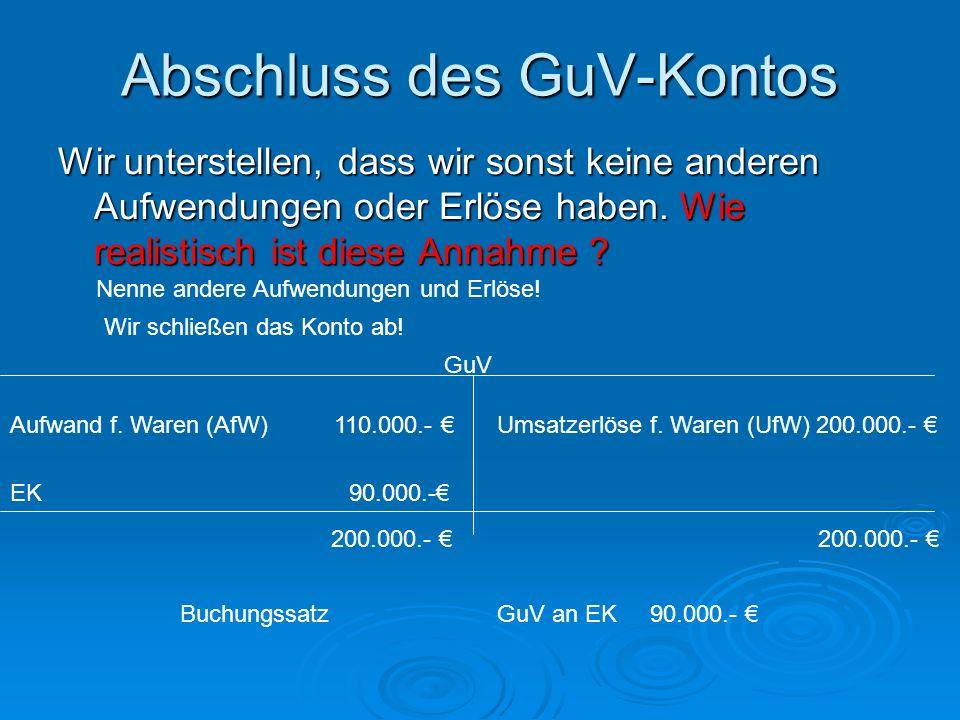 Abschluss des GuV-Kontos