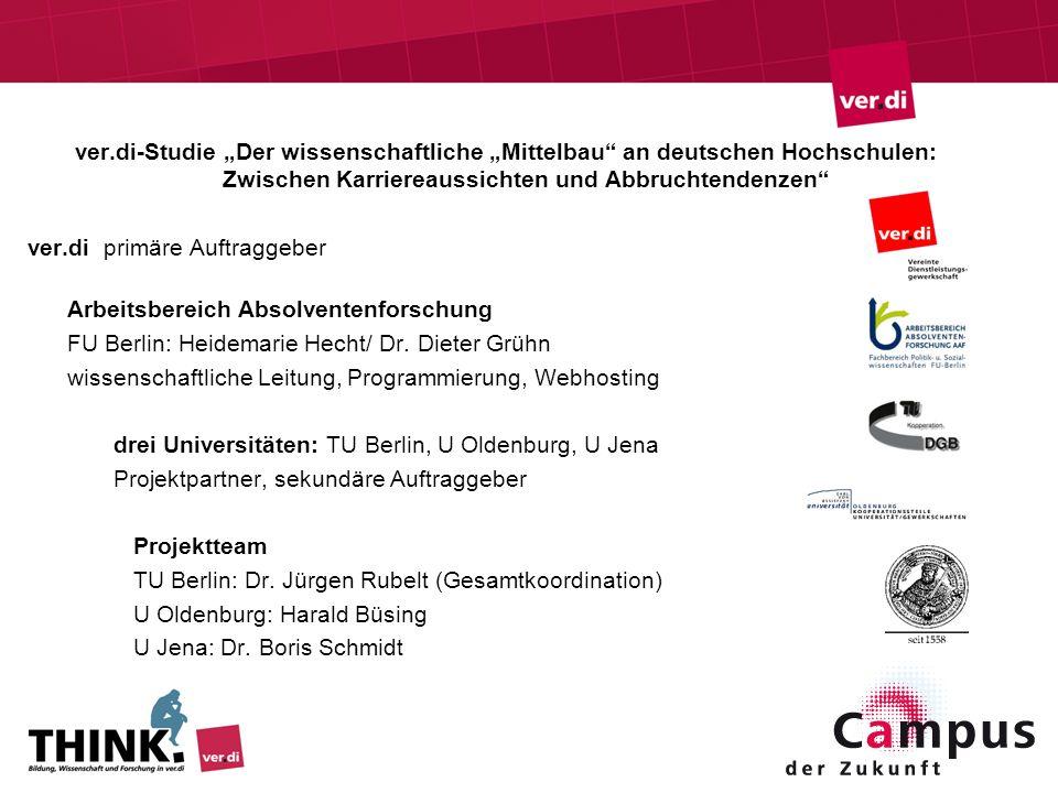 """ver.di-Studie """"Der wissenschaftliche """"Mittelbau an deutschen Hochschulen: Zwischen Karriereaussichten und Abbruchtendenzen"""