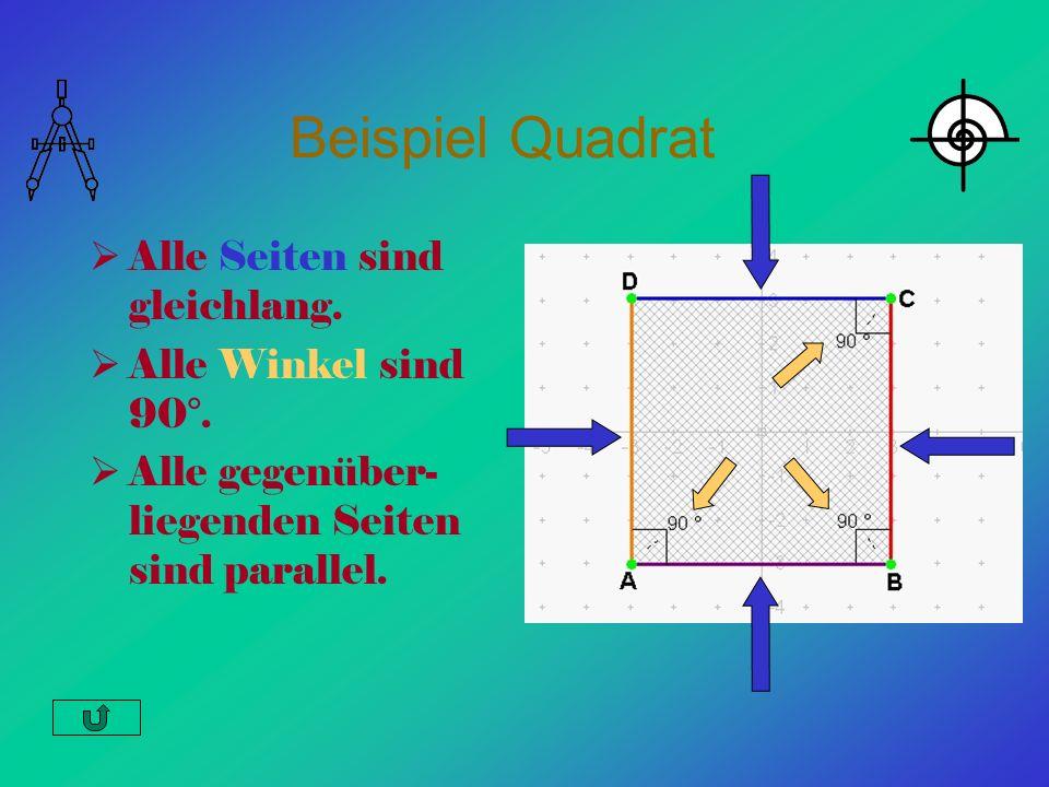 Beispiel Quadrat Alle Seiten sind gleichlang. Alle Winkel sind 90°.