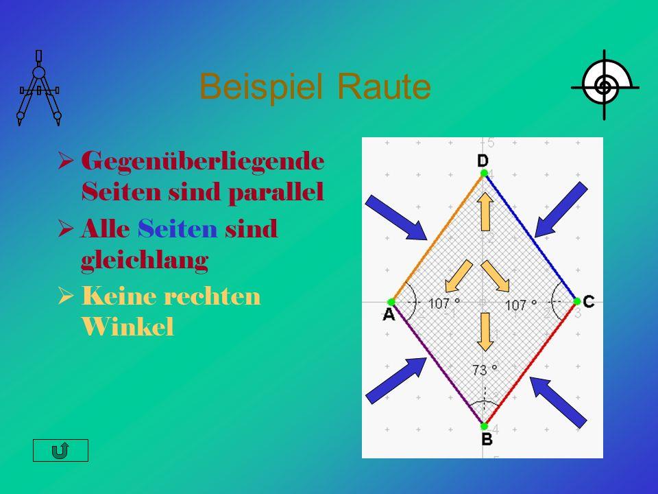 Beispiel Raute Gegenüberliegende Seiten sind parallel