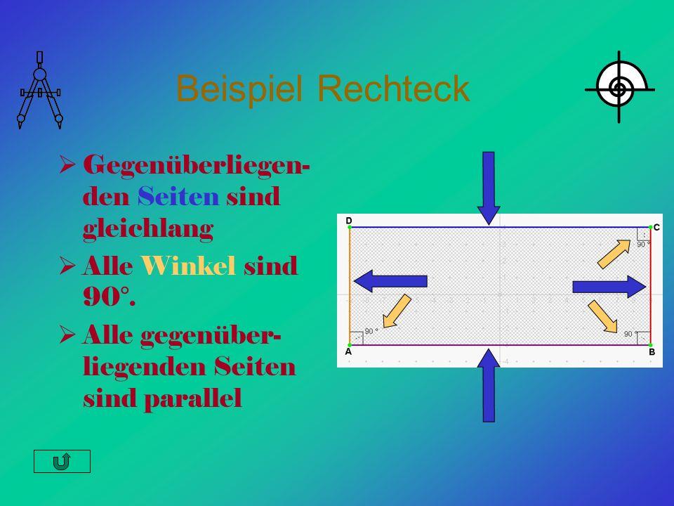Beispiel Rechteck Gegenüberliegen-den Seiten sind gleichlang