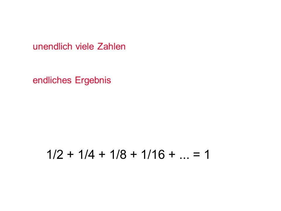 1/2 + 1/4 + 1/8 + 1/16 + ... = 1 unendlich viele Zahlen