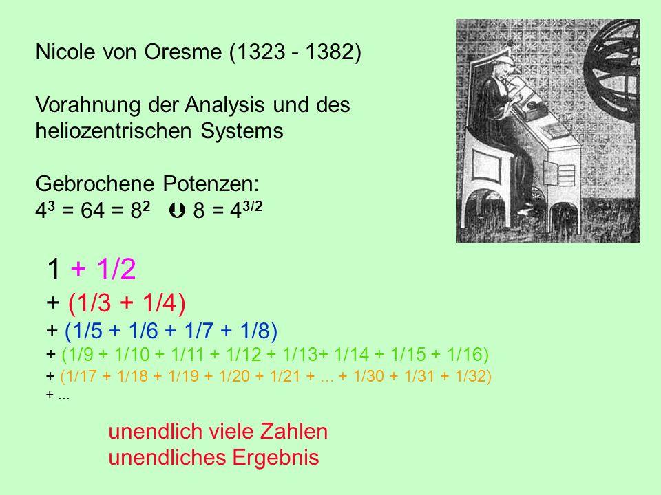 1 + 1/2 + (1/3 + 1/4) Nicole von Oresme (1323 - 1382)