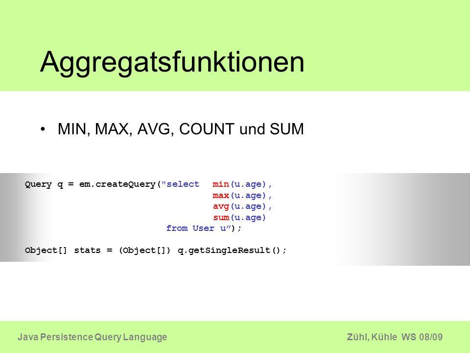 Aggregatsfunktionen MIN, MAX, AVG, COUNT und SUM