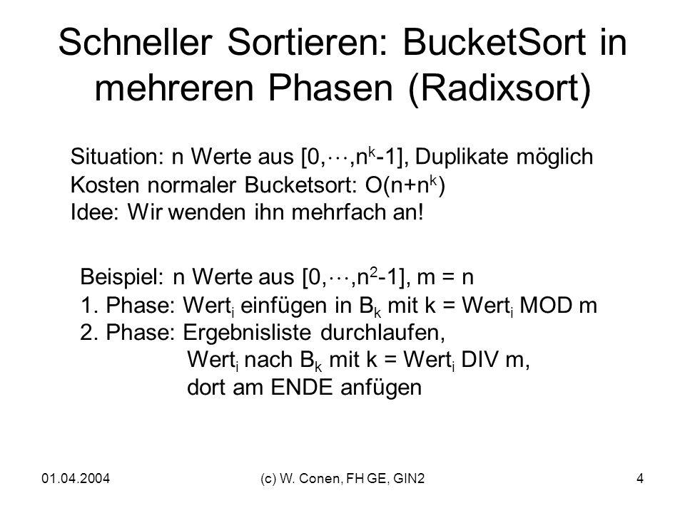 Schneller Sortieren: BucketSort in mehreren Phasen (Radixsort)