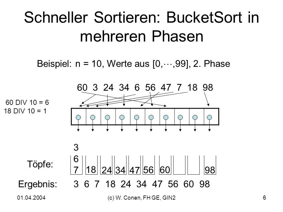 Schneller Sortieren: BucketSort in mehreren Phasen