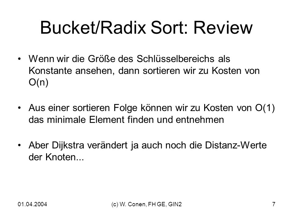 Bucket/Radix Sort: Review
