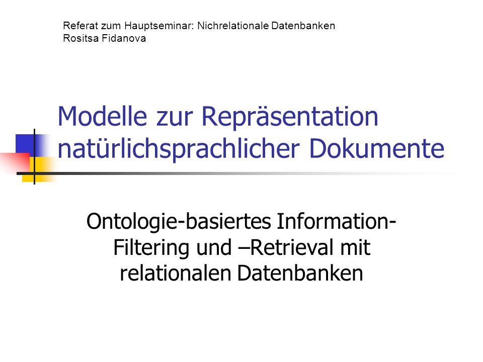 Modelle zur Repräsentation natürlichsprachlicher Dokumente
