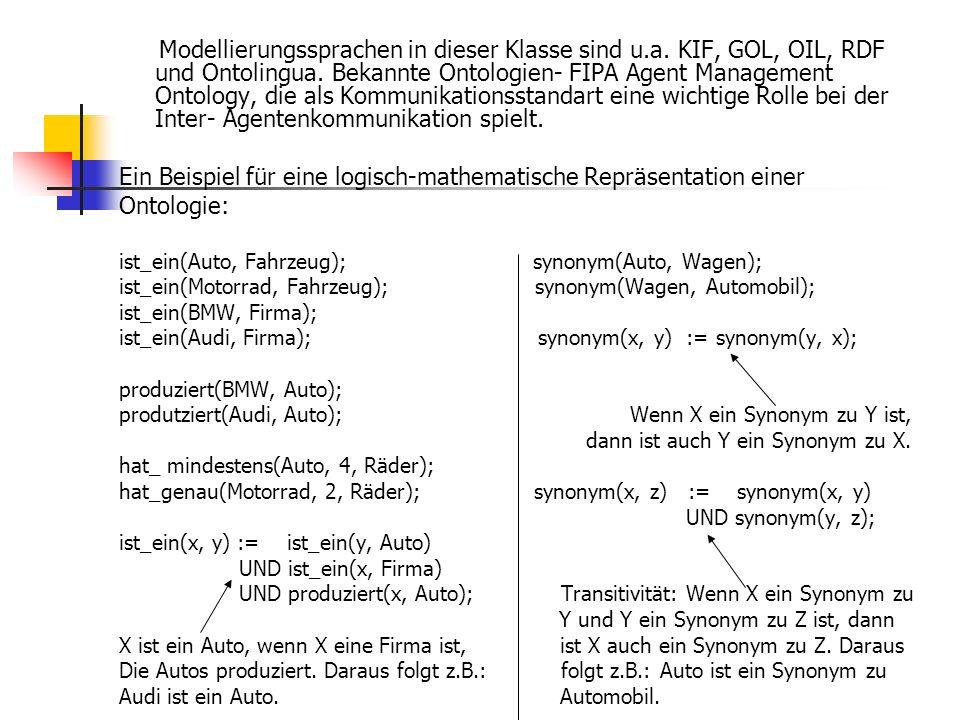 Ein Beispiel für eine logisch-mathematische Repräsentation einer