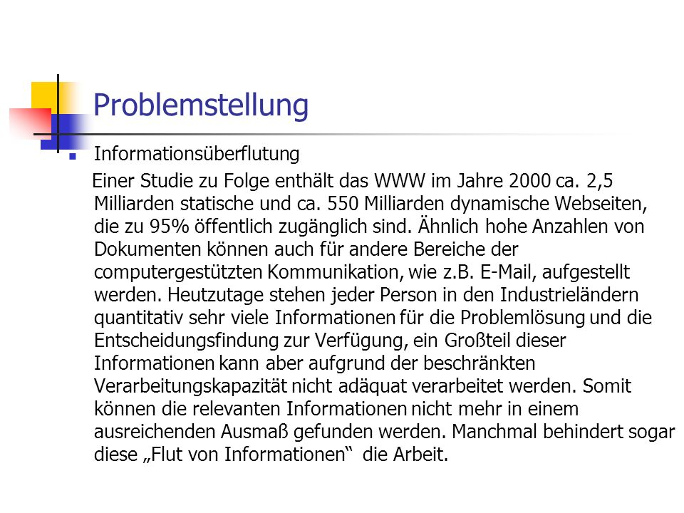 Problemstellung Informationsüberflutung