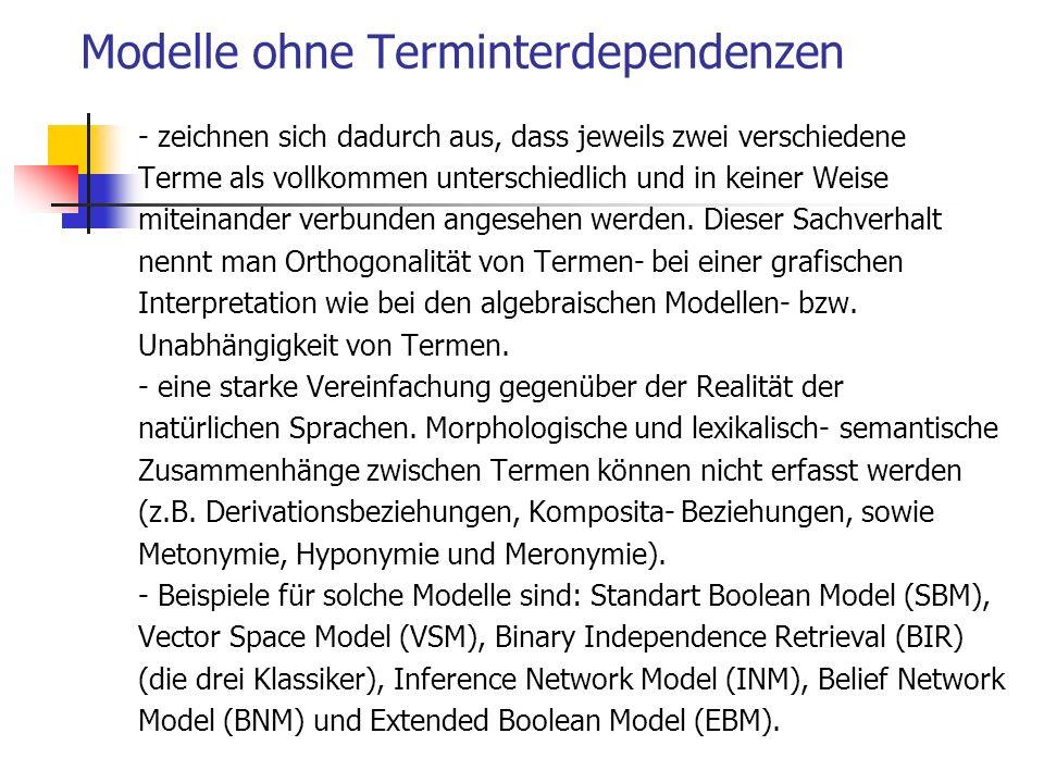 Modelle ohne Terminterdependenzen