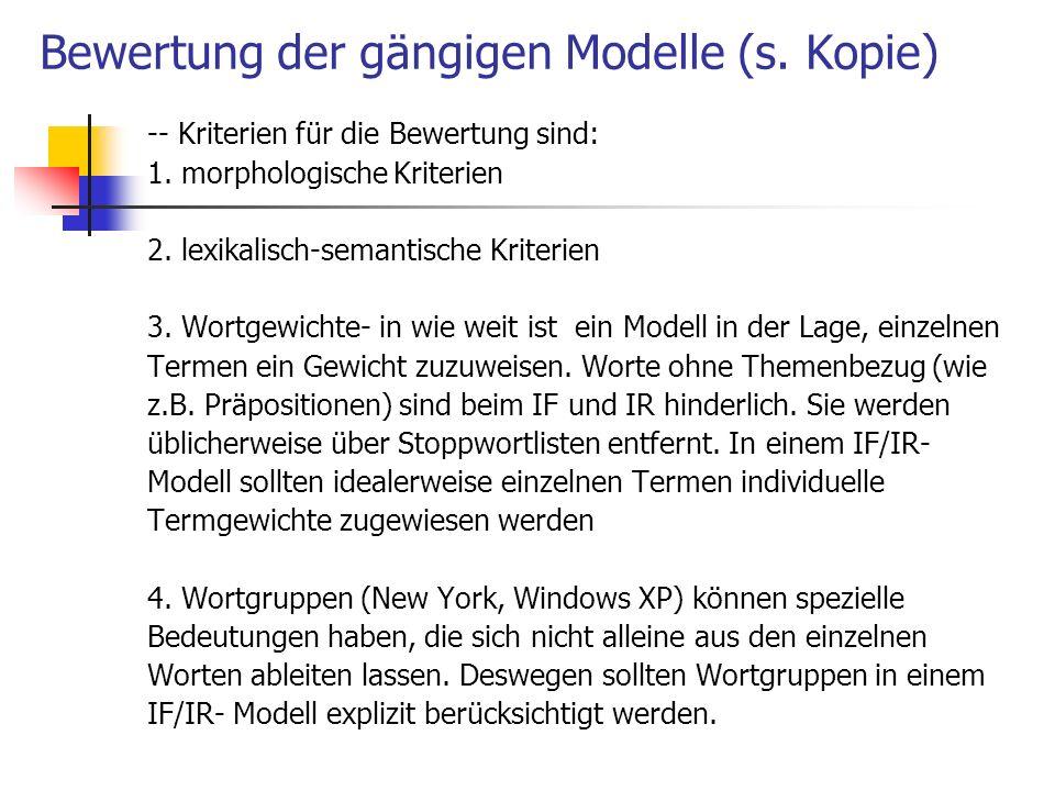 Bewertung der gängigen Modelle (s. Kopie)