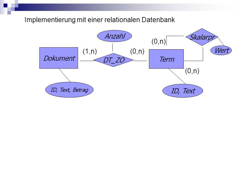 Implementierung mit einer relationalen Datenbank