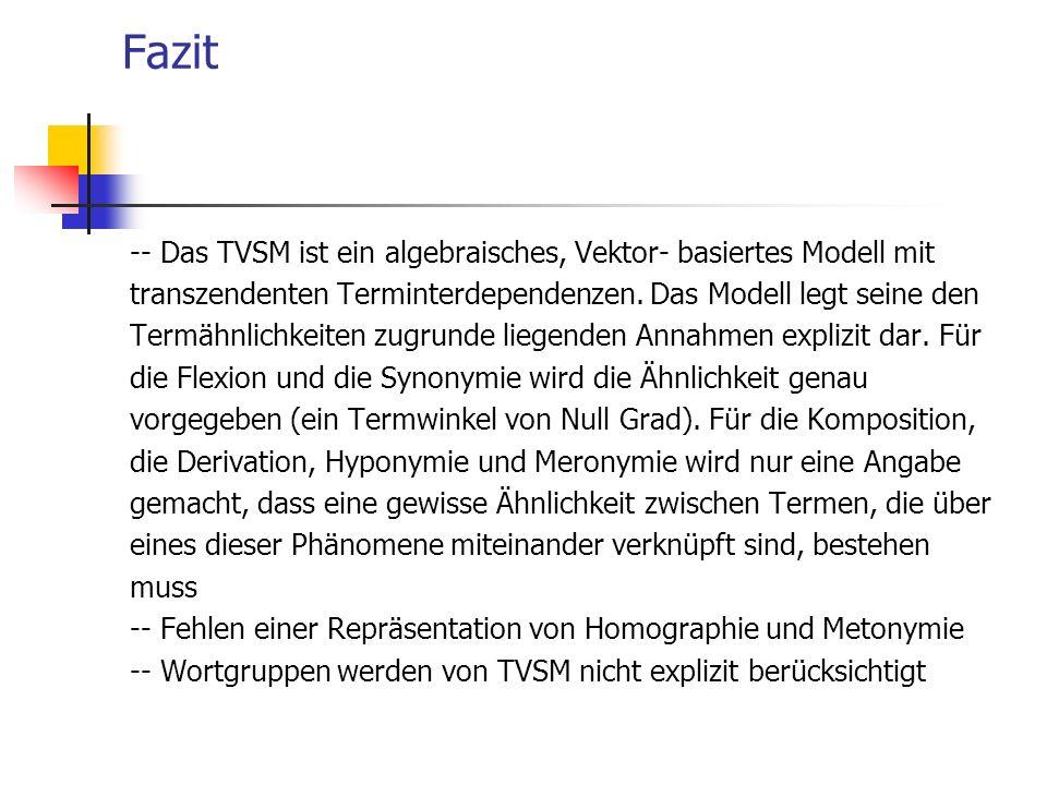Fazit -- Das TVSM ist ein algebraisches, Vektor- basiertes Modell mit