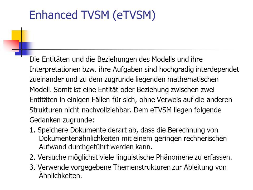 Enhanced TVSM (eTVSM) Die Entitäten und die Beziehungen des Modells und ihre. Interpretationen bzw. ihre Aufgaben sind hochgradig interdependet.