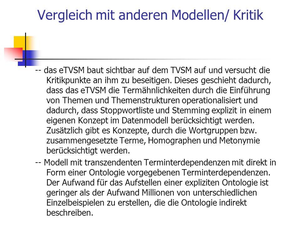 Vergleich mit anderen Modellen/ Kritik