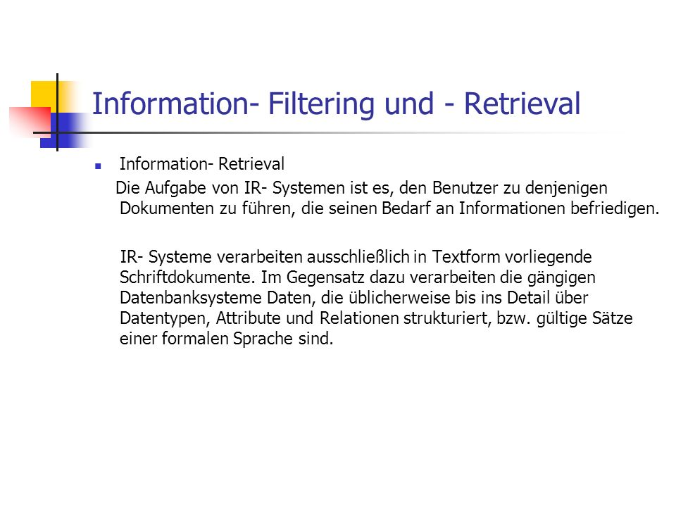 Information- Filtering und - Retrieval