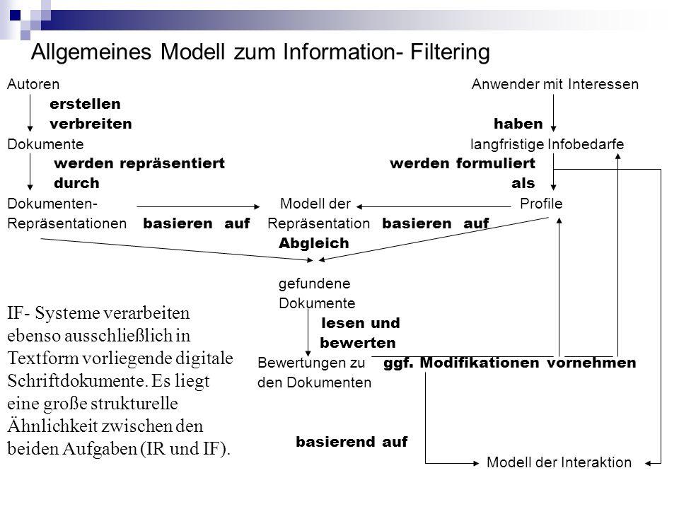 Allgemeines Modell zum Information- Filtering