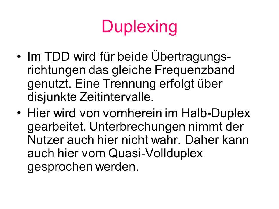 Duplexing Im TDD wird für beide Übertragungs-richtungen das gleiche Frequenzband genutzt. Eine Trennung erfolgt über disjunkte Zeitintervalle.