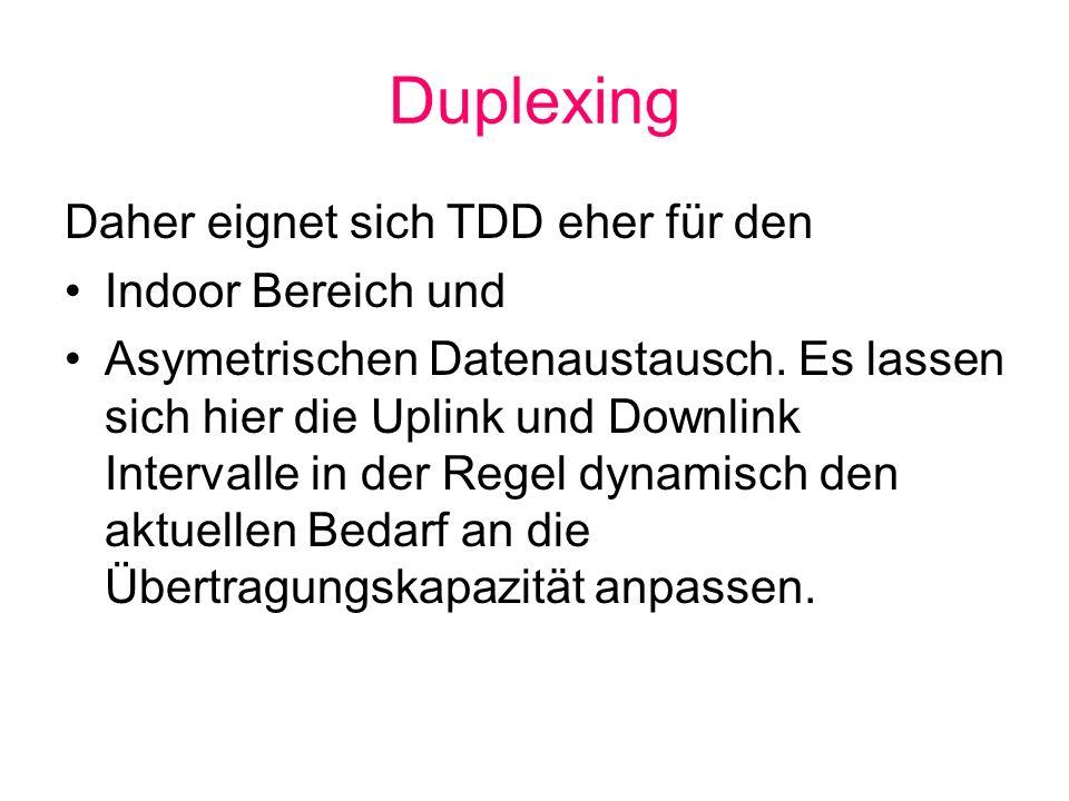 Duplexing Daher eignet sich TDD eher für den Indoor Bereich und
