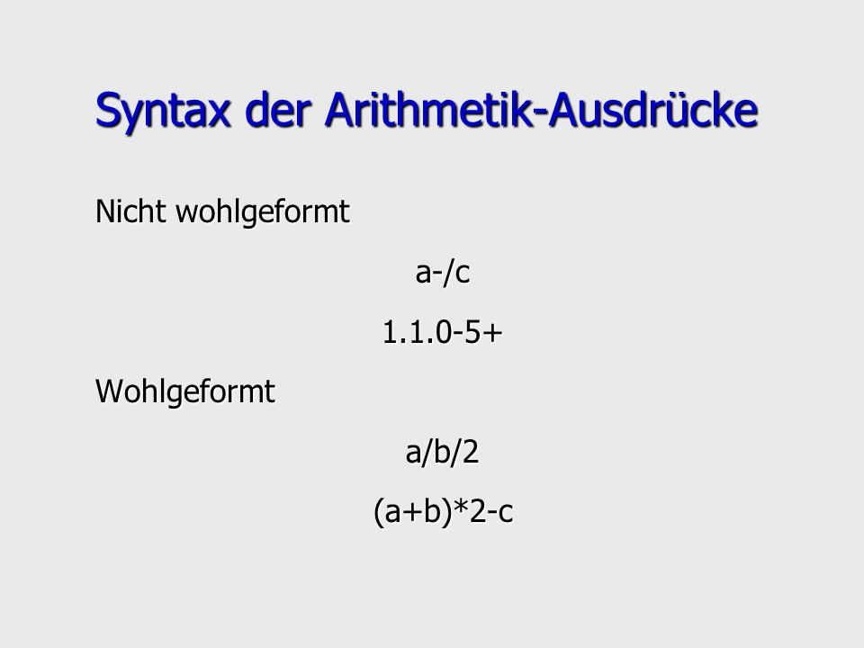 Syntax der Arithmetik-Ausdrücke