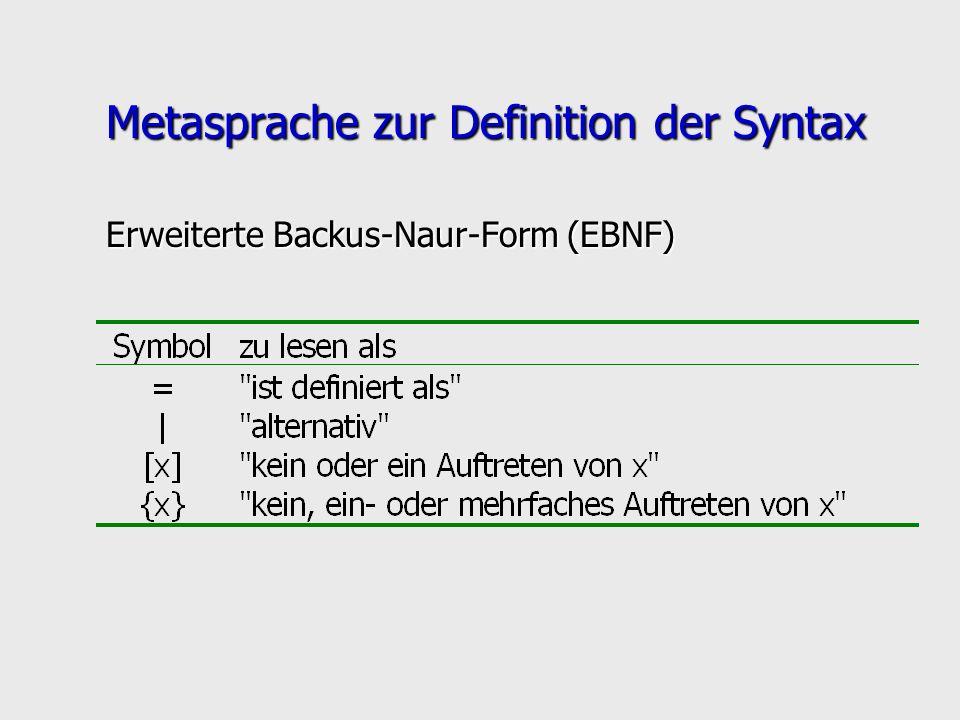 Metasprache zur Definition der Syntax