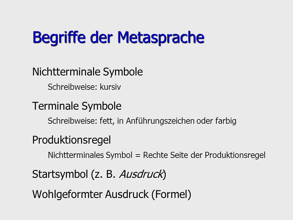Begriffe der Metasprache