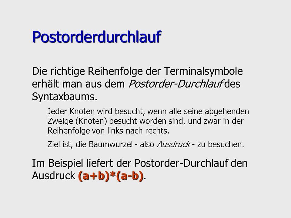 Postorderdurchlauf Die richtige Reihenfolge der Terminalsymbole erhält man aus dem Postorder-Durchlauf des Syntaxbaums.